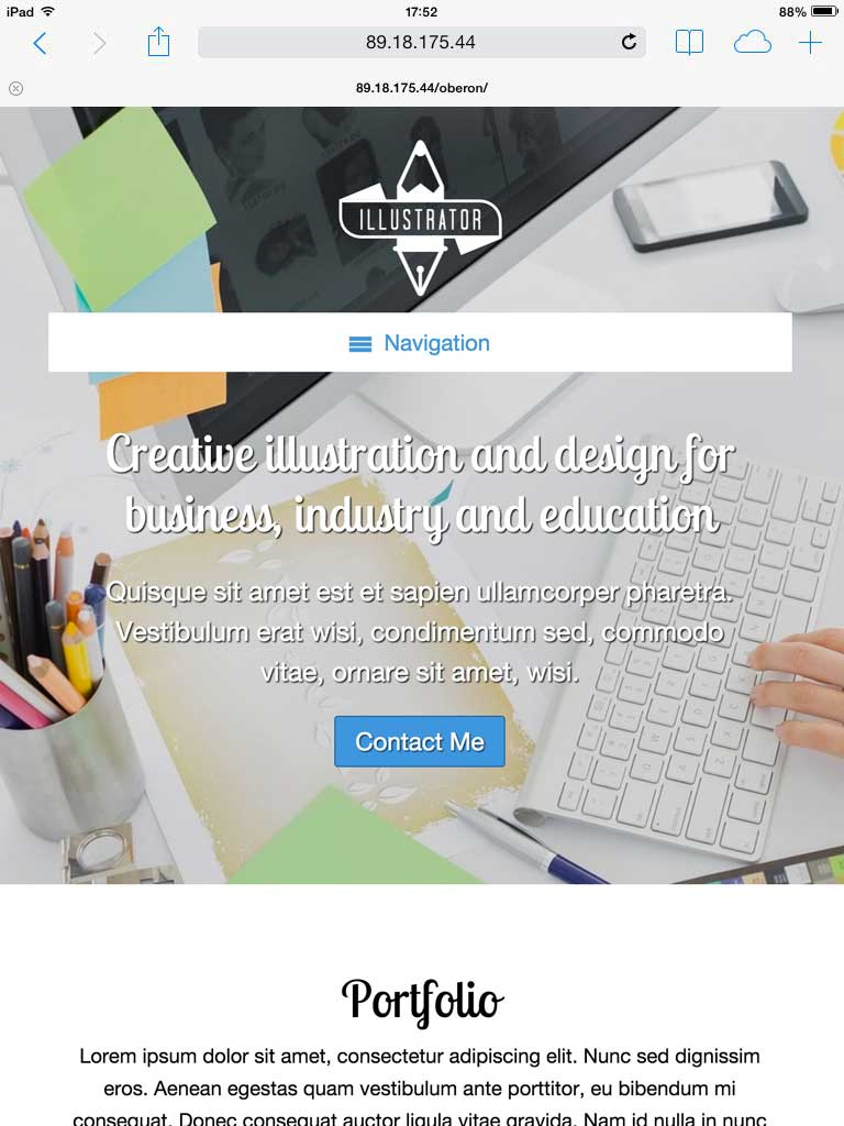 tablet screenshot Illustrator WordPress Theme