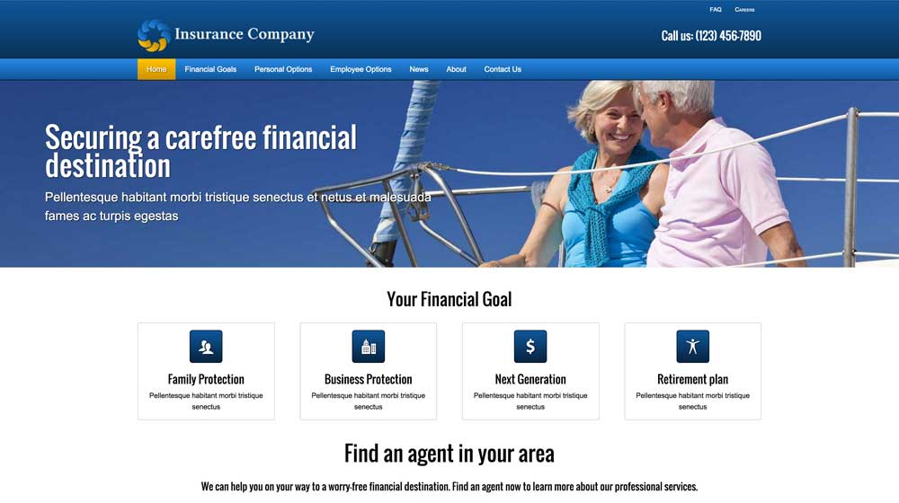 desktop screenshot Insurance Company WordPress Theme