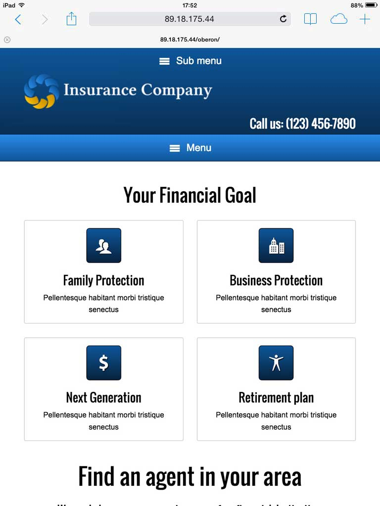 tablet screenshot Insurance Company WordPress Theme