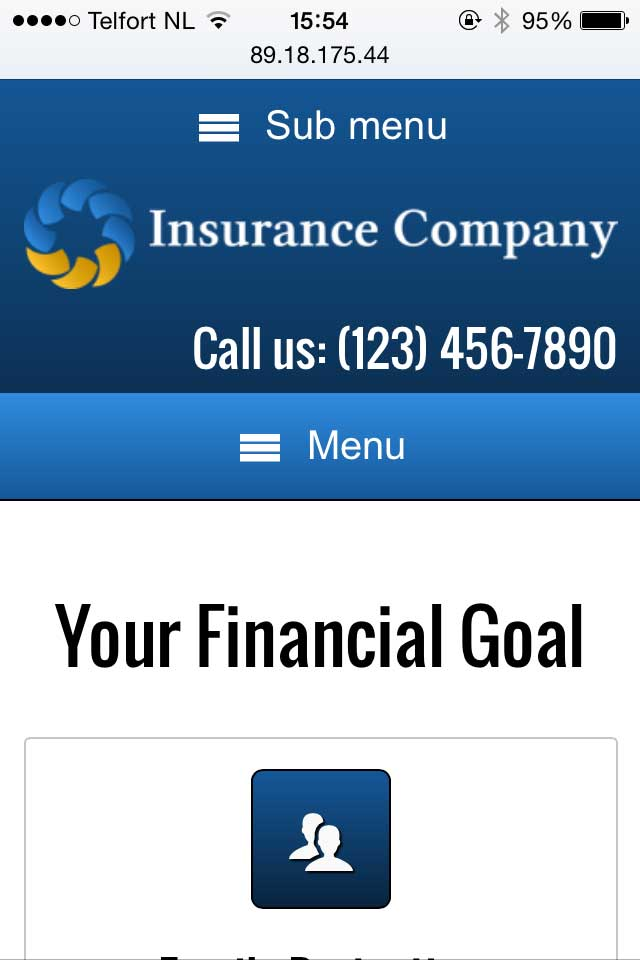 mobile phone screenshot Insurance Company WordPress Theme