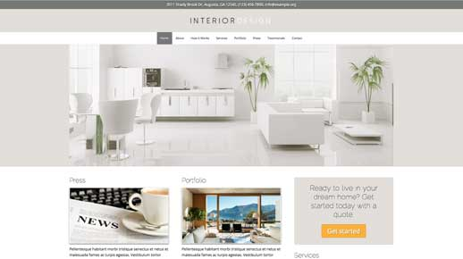 desktop screenshot Interior Design WordPress Theme
