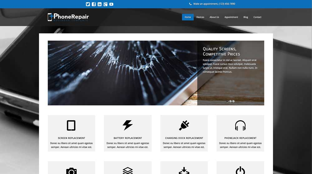 IPhone Repair WordPress Theme - responsive WordPress theme