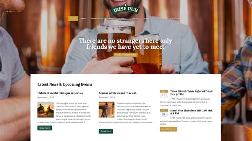 desktop screenshot Irish Pub WordPress Theme