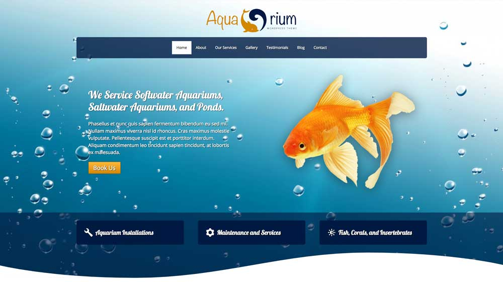 desktop screenshot Aquarium WordPress Theme