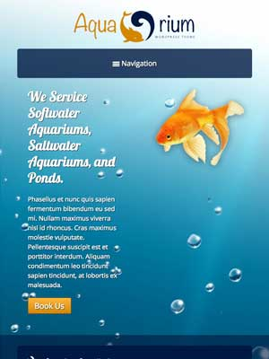 tablet screenshot Aquarium WordPress Theme