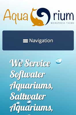 mobile phone screenshot Aquarium WordPress Theme