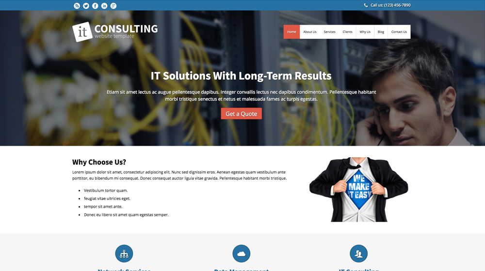 desktop screenshot Information Technology WordPress Theme