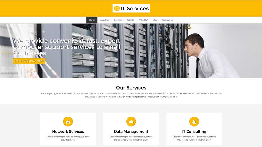 desktop screenshot IT Services WordPress Theme