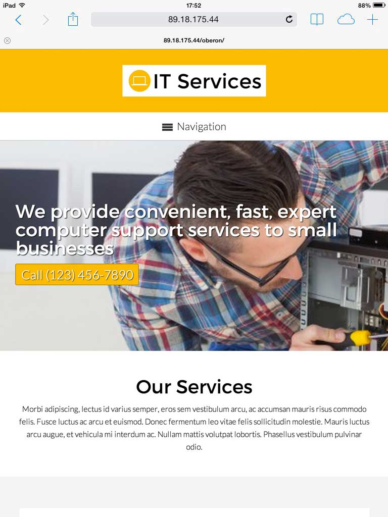 tablet screenshot IT Services WordPress Theme