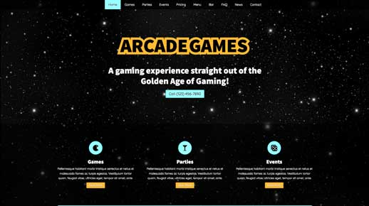 desktop screenshot Arcade Games WordPress Theme