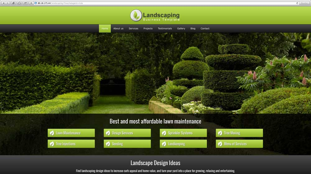 desktop screenshot Landscaping WordPress Theme
