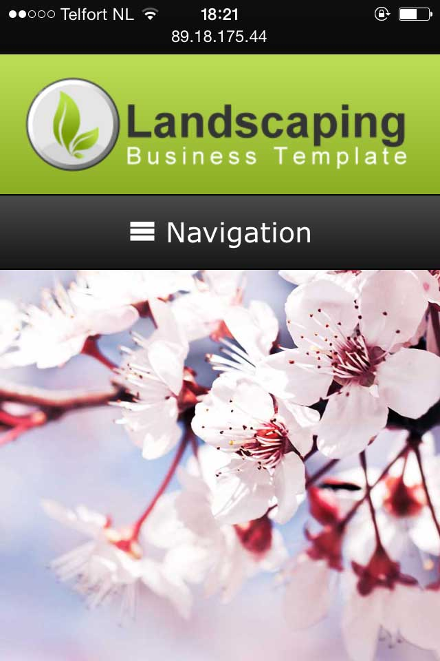 mobile phone screenshot Landscaping WordPress Theme