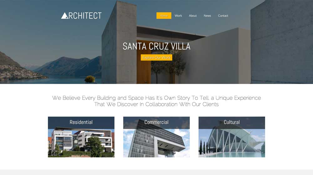 desktop screenshot Architect WordPress Theme