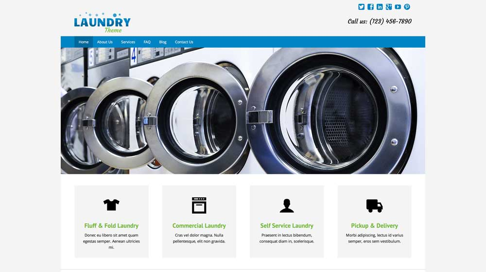 desktop screenshot Laundry WordPress Theme