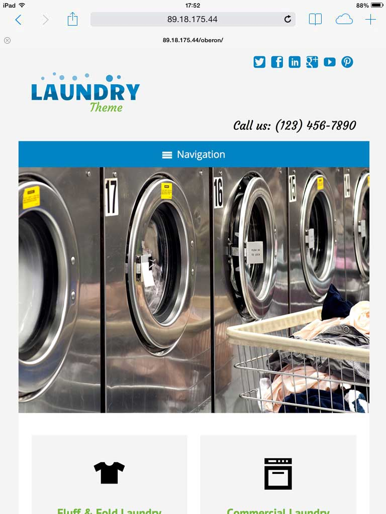 tablet screenshot Laundry WordPress Theme