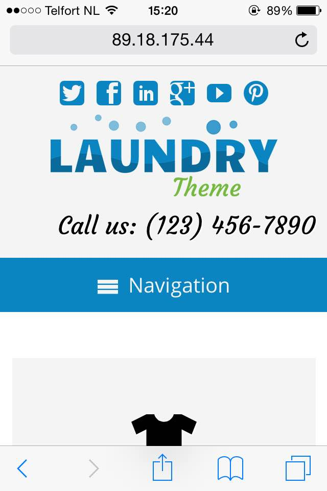 mobile phone screenshot Laundry WordPress Theme