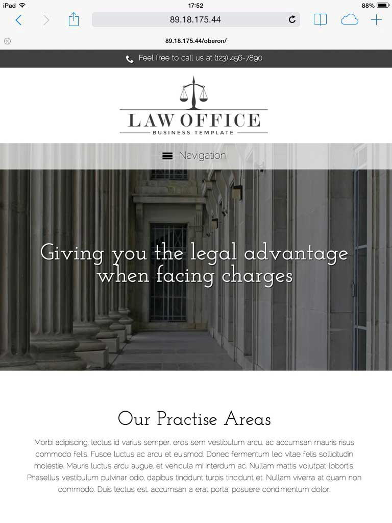 tablet screenshot Law Office WordPress Theme