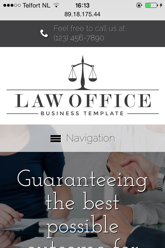 mobile phone screenshot Law Office WordPress Theme