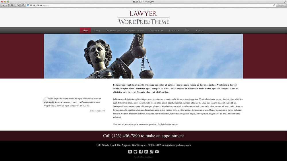 desktop screenshot Law Firm WordPress Theme