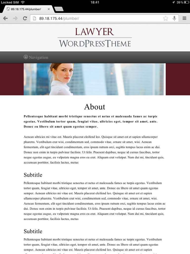 tablet screenshot Law Firm WordPress Theme