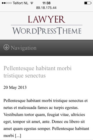 mobile phone screenshot Law Firm WordPress Theme