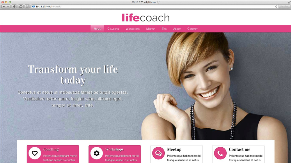 desktop screenshot Life Coach WordPress Theme