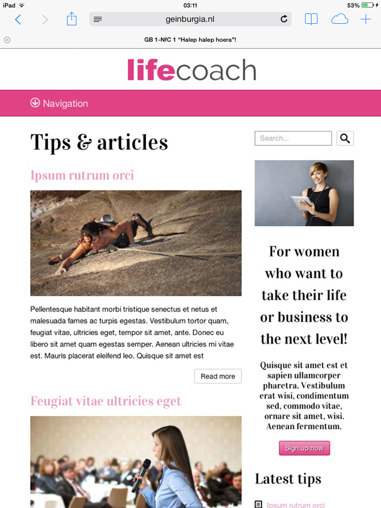 tablet screenshot Life Coach WordPress Theme
