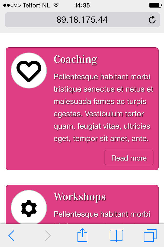 mobile phone screenshot Life Coach WordPress Theme