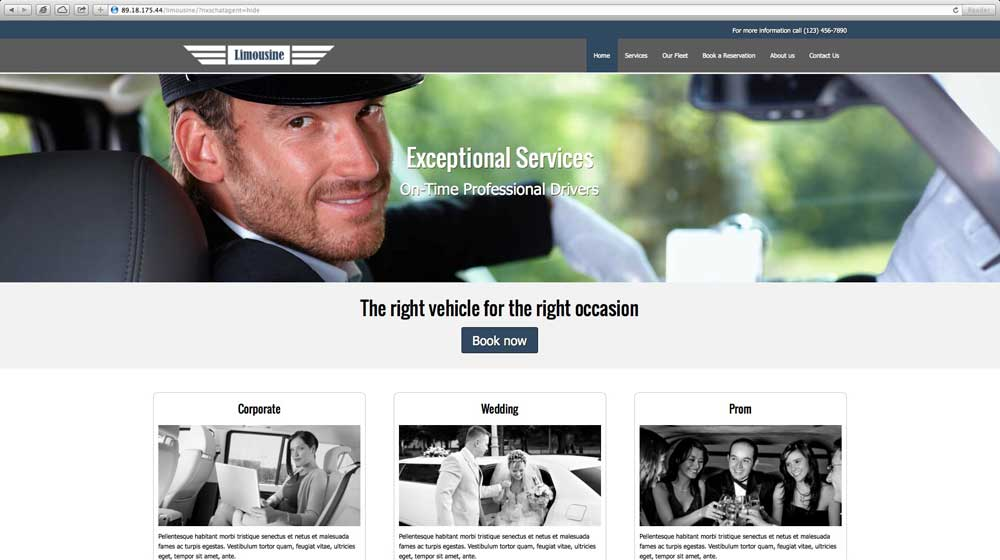 desktop screenshot Limousine WordPress Theme