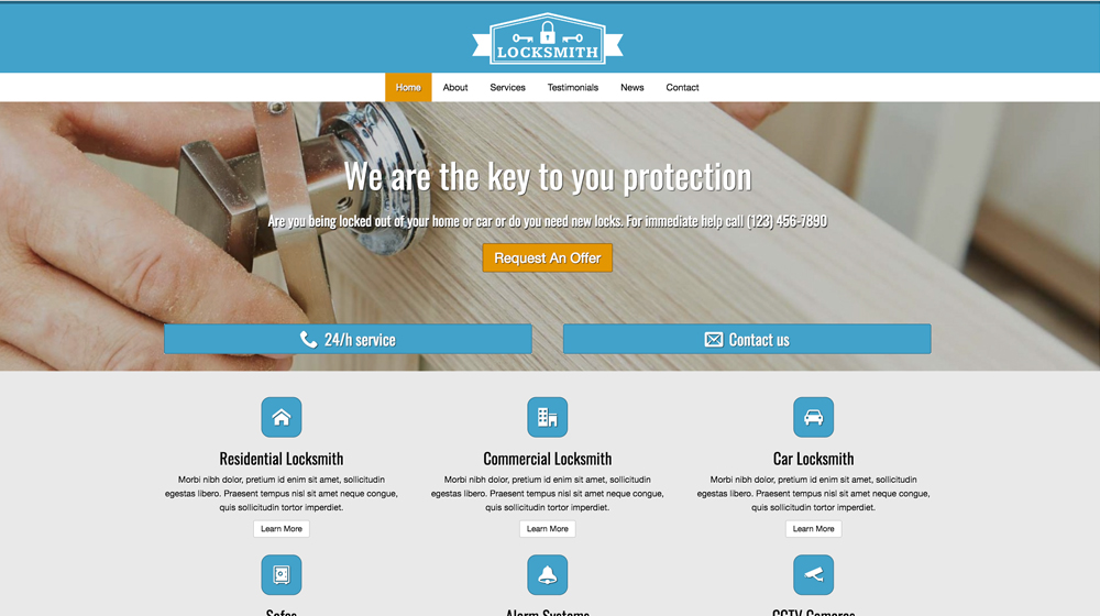 desktop screenshot Home Security WordPress Theme