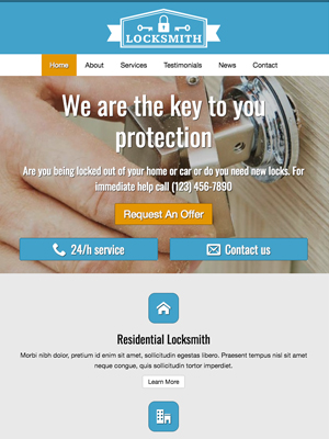 tablet screenshot Home Security WordPress Theme