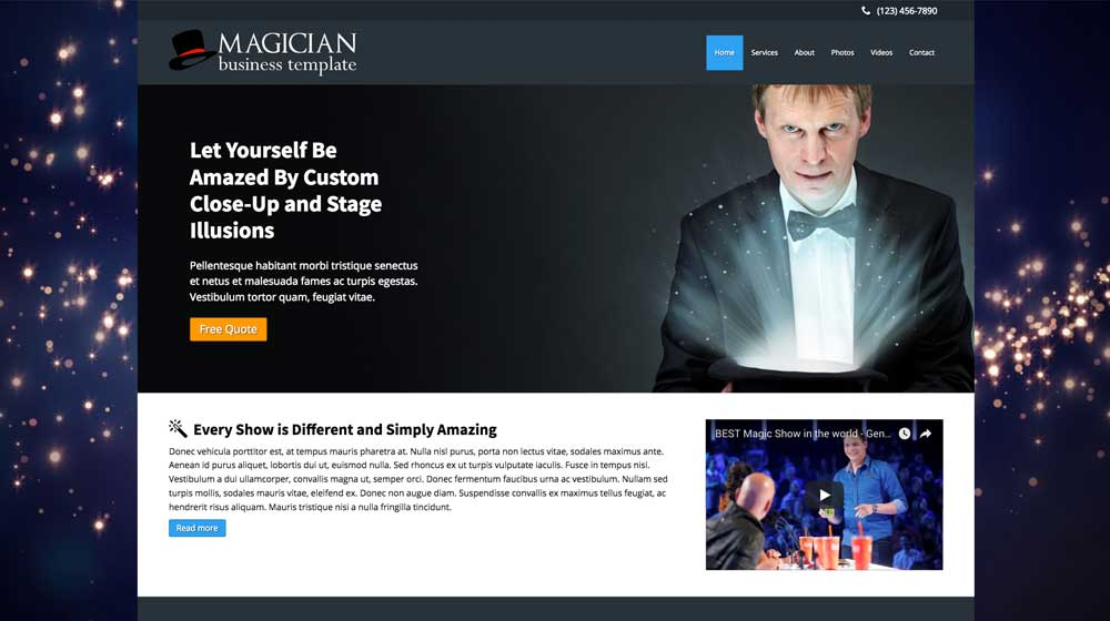 desktop screenshot Magician WordPress Theme