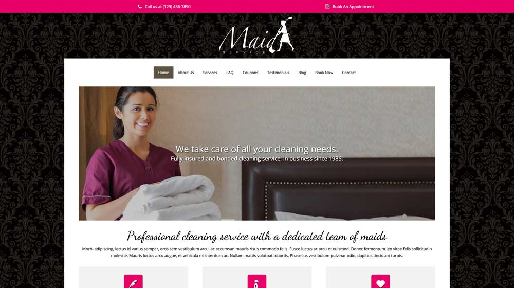 desktop screenshot Maid Service WordPress Theme