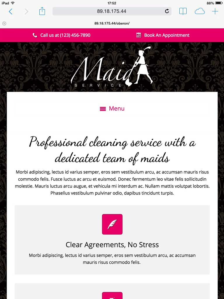 tablet screenshot Maid Service WordPress Theme