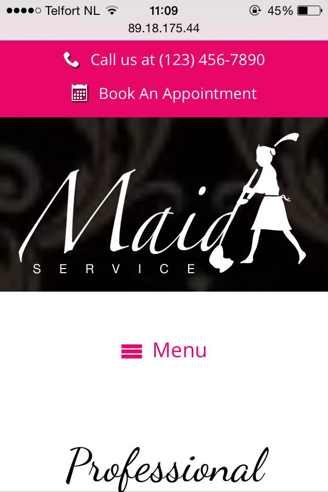 mobile phone screenshot Maid Service WordPress Theme