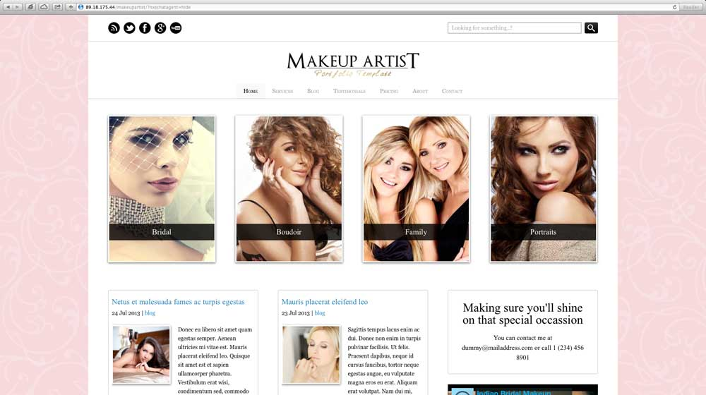 desktop screenshot Makeup Artist WordPress Theme