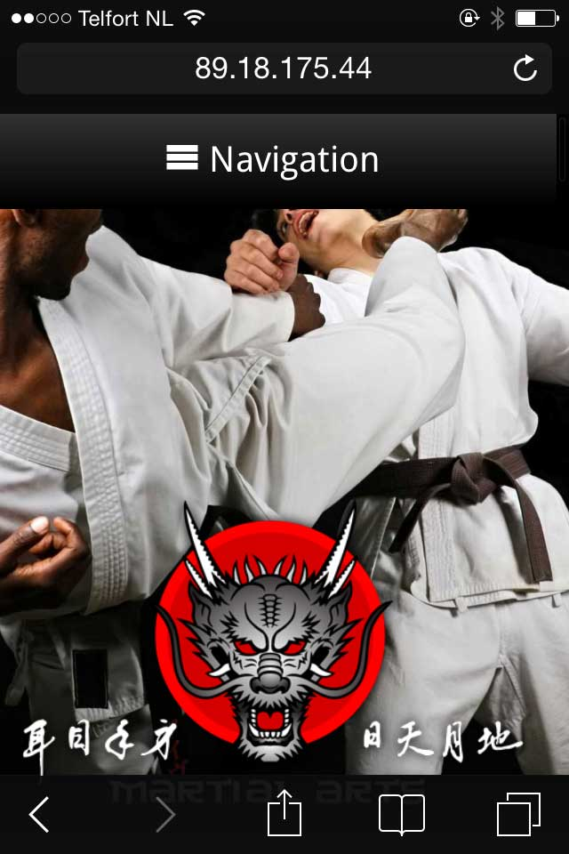 mobile phone screenshot Martial Arts WordPress Theme