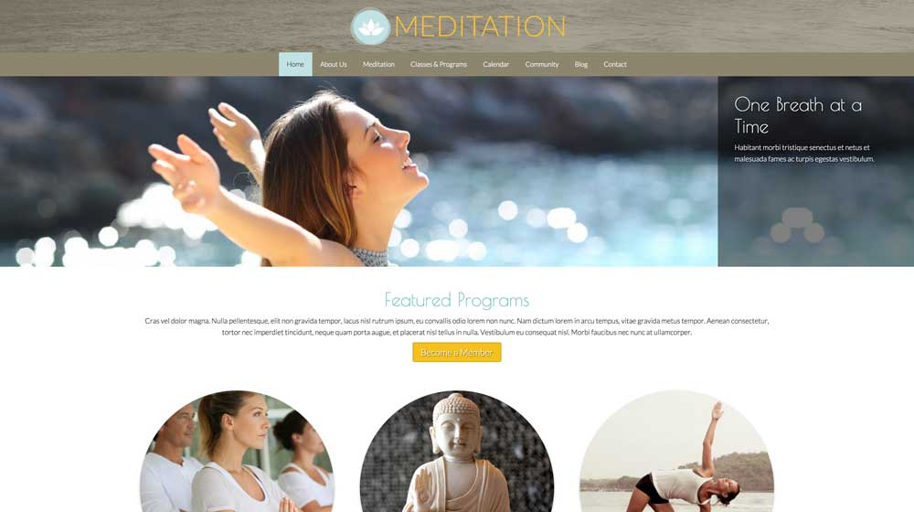 desktop screenshot Meditation WordPress Theme