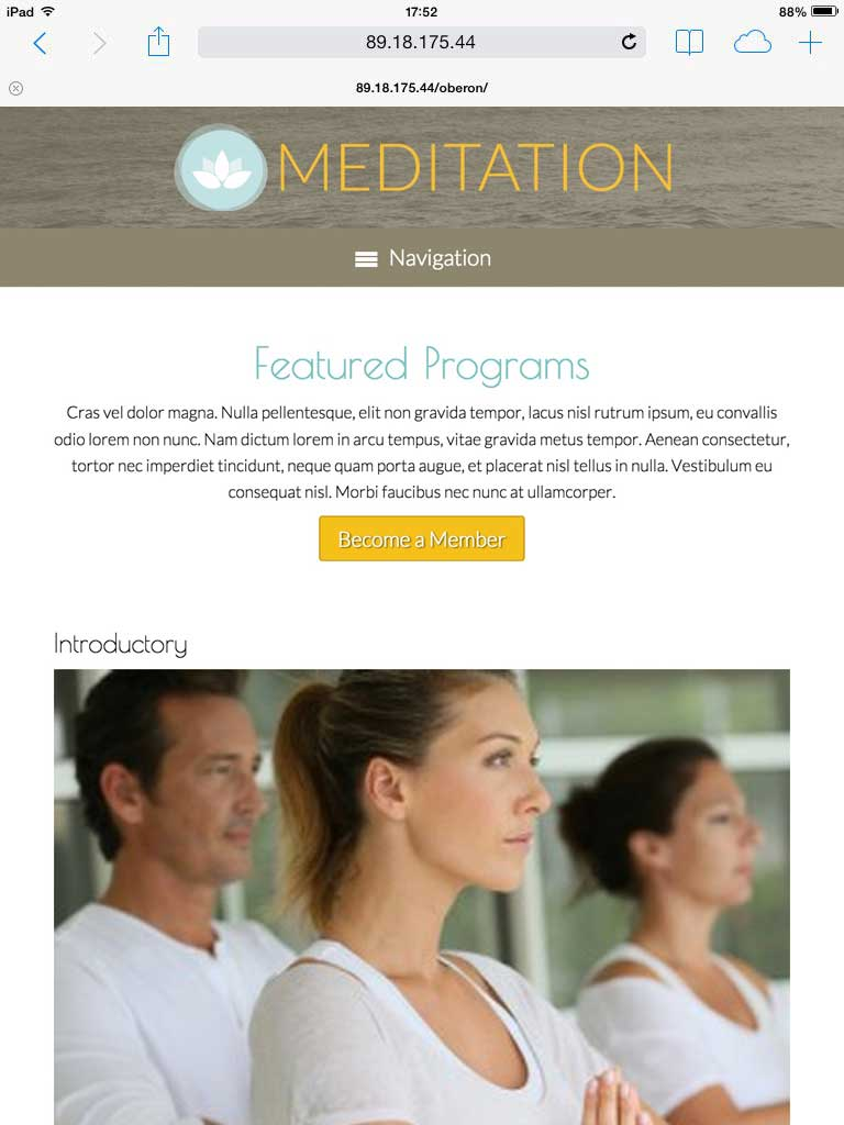 tablet screenshot Meditation WordPress Theme