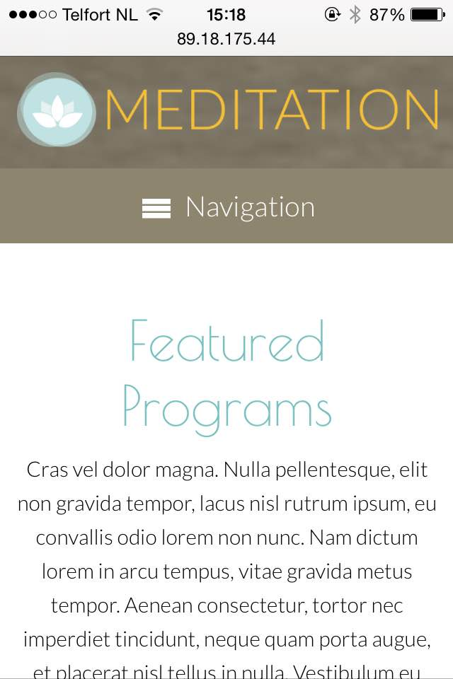 mobile phone screenshot Meditation WordPress Theme