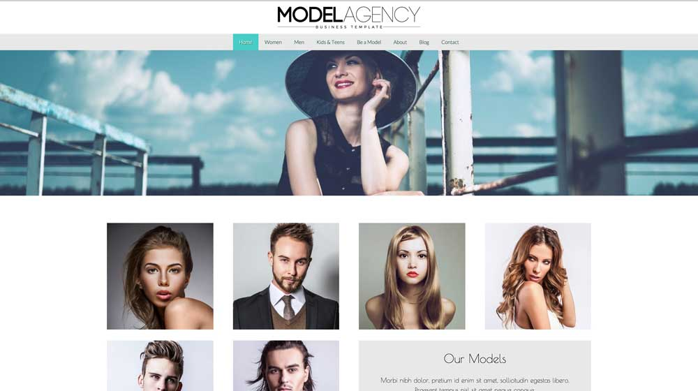 desktop screenshot Model Agency WordPress Theme