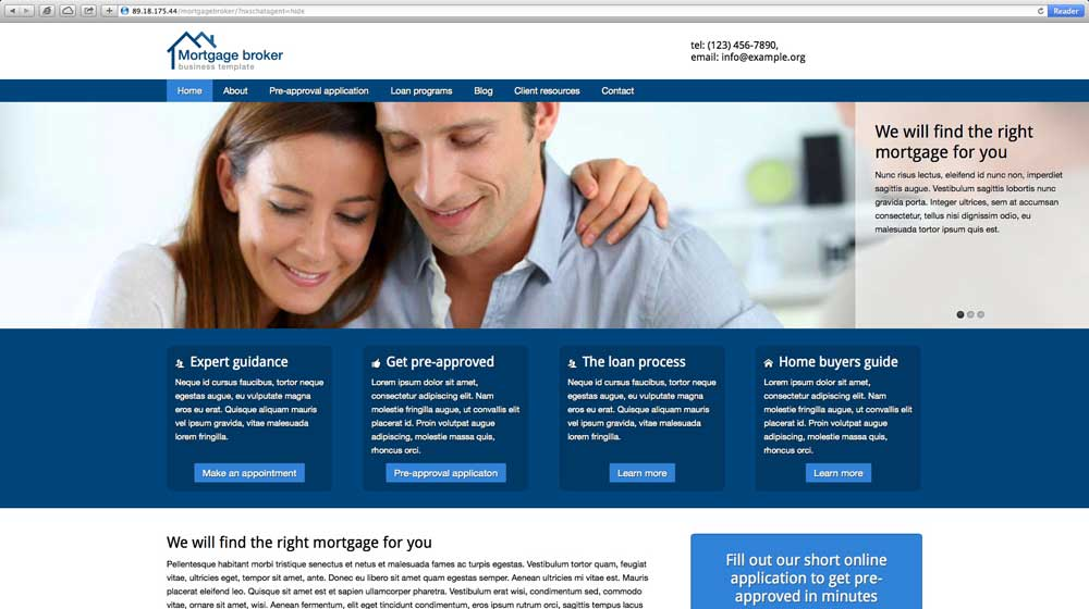 desktop screenshot Mortgage Broker WordPress Theme