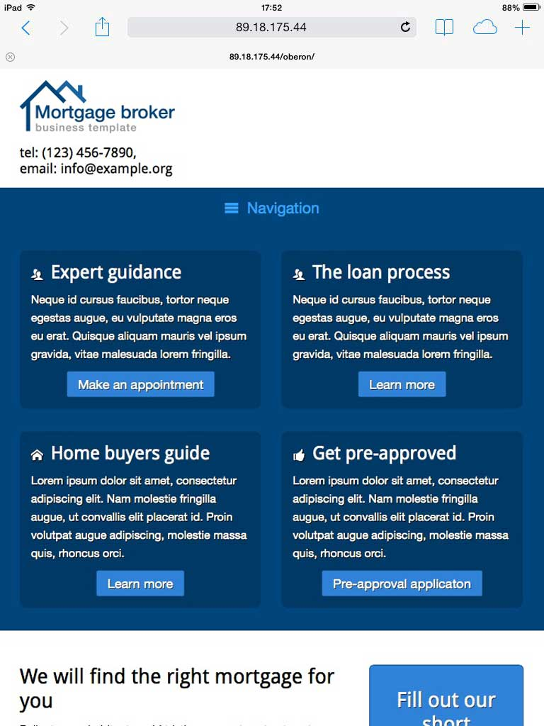 tablet screenshot Mortgage Broker WordPress Theme