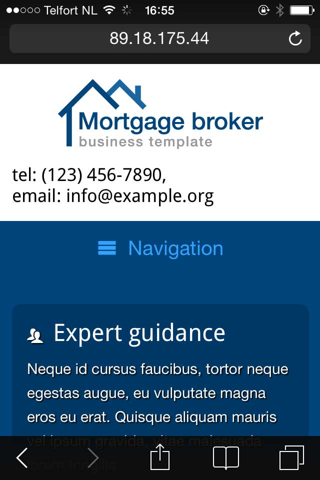mobile phone screenshot Mortgage Broker WordPress Theme