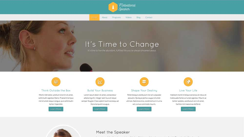 desktop screenshot Motivational Speaker WordPress Theme