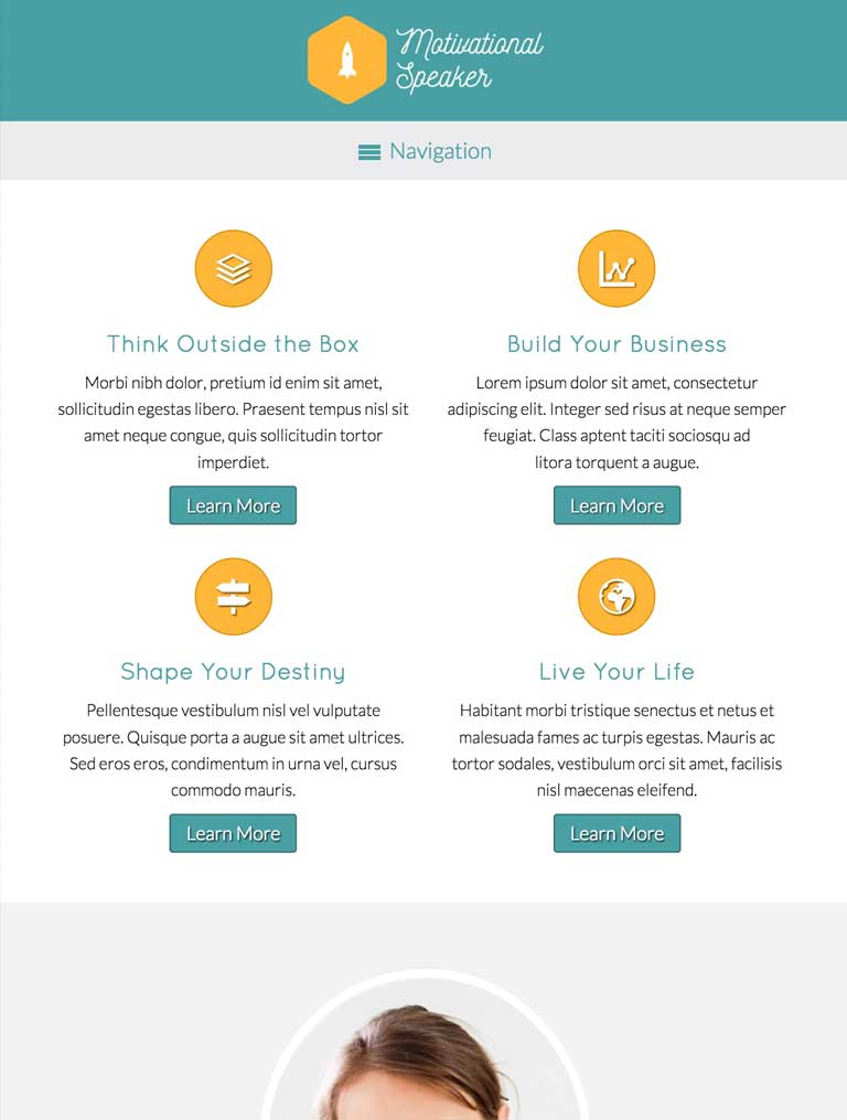 tablet screenshot Motivational Speaker WordPress Theme