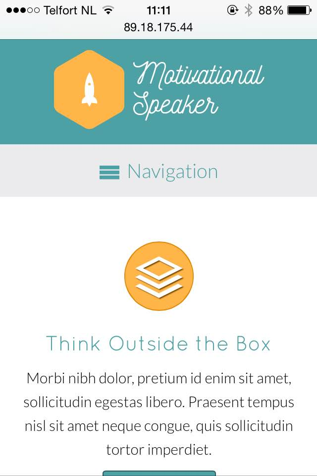mobile phone screenshot Motivational Speaker WordPress Theme