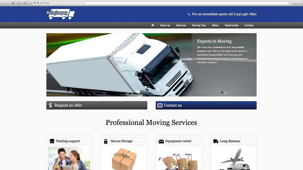 desktop screenshot Moving Company WordPress Theme