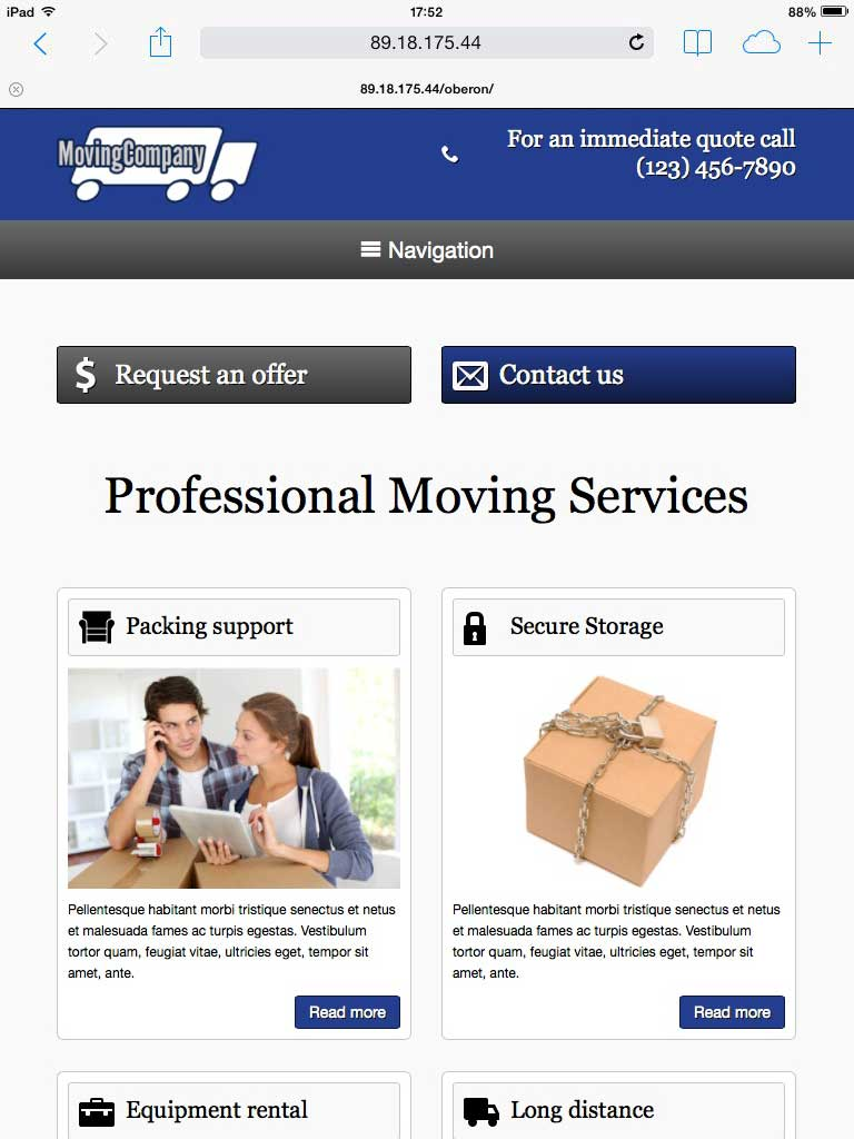 tablet screenshot Moving Company WordPress Theme