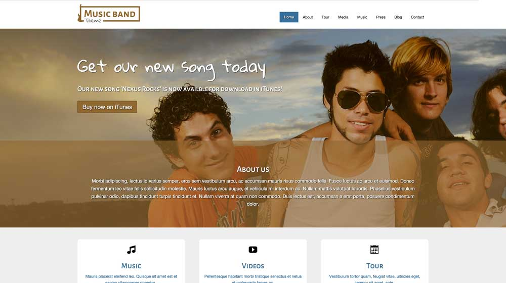 desktop screenshot Music Band WordPress Theme